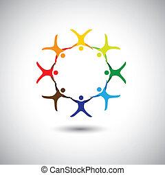 概念, 鮮艷, 人們, -, 一起, 統一, 環繞, 完整