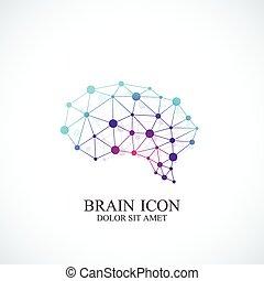 概念, 鮮艷, 創造性, 腦子, 矢量, 設計, 樣板, logo., 圖象