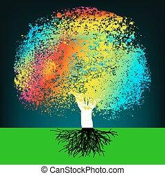 概念, 鮮艷, 摘要, eps, 樹。, 8