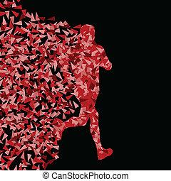 概念, 黑色半面畫像, 賽跑的人, 海報, 三角形, 插圖, 運動, 矢量, 背景, 活躍, 爆炸, 碎片, 做