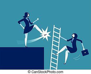 概念, away., illustration., 從事工商業的女性, 矢量, 踢, 事務, dismission.