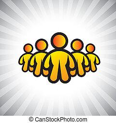 概念, graphic-, 上尉, &, cfo, 也, ceo, 領導人, 概念, 插圖, 老板, followers., 成員, 代表, 相象, 人們, 位置, 領導, 等等, 矢量, 工人, 隊, 或者