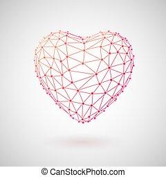 概念, heart., 醫學, polygonal, healthcare., 技術, 3d