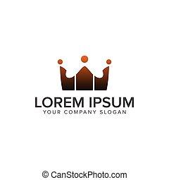 概念, logos., 人們, 通訊, 王冠, 設計, 樣板, 標識語, 組