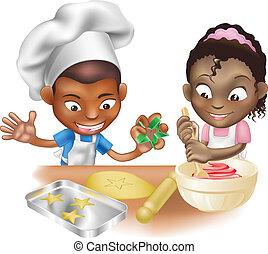 樂趣, 有, 二, 廚房, 孩子