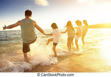 樂趣, 海灘, 有, 家庭, 愉快