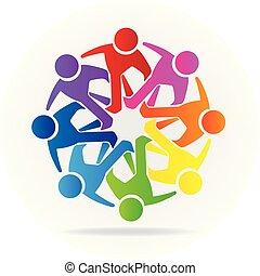 標識語, 人們, 友誼, 社區, 配合