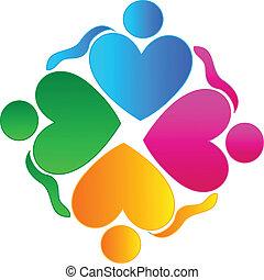 標識語, 人們, 配合, 擁抱, 心