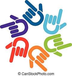 標識語, 手, 指針, 配合