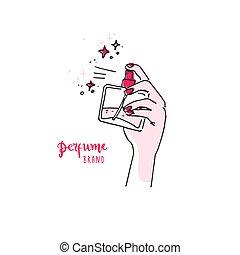 標識語, 手, 水霧, 香水, bottle., 簡單, 好, 心不在焉地亂寫亂畫