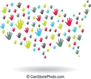 標識語, 手, 美國, 地圖