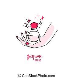 標識語, 手, 香水, bottle., 簡單, 好, 心不在焉地亂寫亂畫
