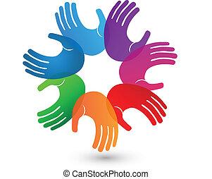 標識語, 手, 鮮艷, 配合
