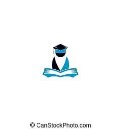 標識語, 教育, book., 打開
