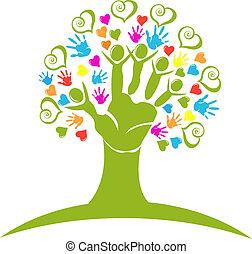 標識語, 數字, 心, 樹, 手