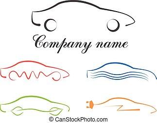 標識語, 汽車, 集合, calligraphic