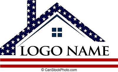 標識語, 美國人, 建設, 屋頂, 插圖