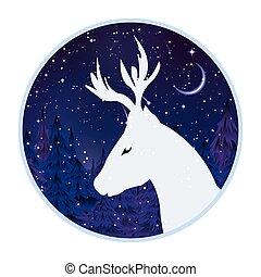 標識語, 鹿, 森林, 背景, 夜晚