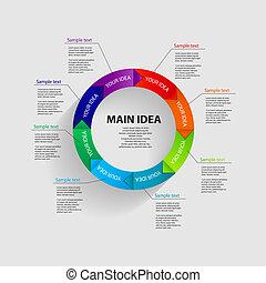 模板, 矢量, 描述商業, infographic
