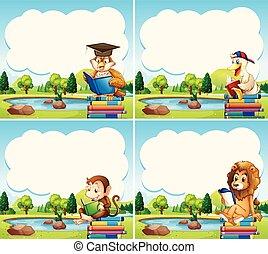 模板, 邊框, 書, 動物, 閱讀