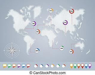 樣板, 地圖, file., geo, eps10, infographics, 世界