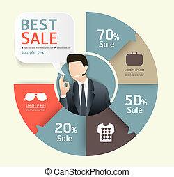 樣板, 編號, 使用, 銷售, 線, 促進, infographics, /, 矢量, 標簽, 網站, cutout, 旗幟, 水平, 圖表, 現代, 紙, 風格, 是, 布局, 或者, 罐頭