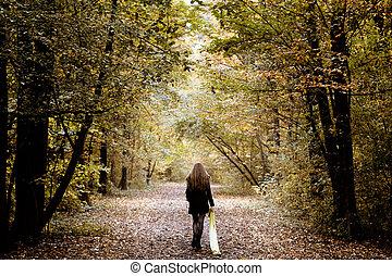 樹林, 單獨, 步行, 婦女, 悲哀