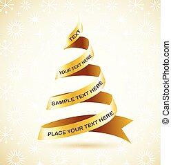 樹, 帶子, 黃金, 聖誕節