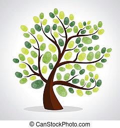 樹, 手指, 背景, 集合, 列印