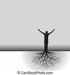 樹, 根, 人