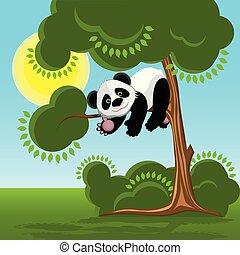 樹, 熊貓, 插圖