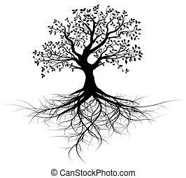 樹, 矢量, 整體, 根, 黑色
