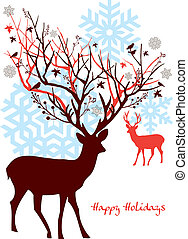 樹, 矢量, 鹿, 聖誕節