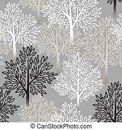 樹, 矢量, pattern., seamless, 插圖