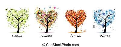 樹, 美麗, -, 春天, 夏天, 四個季節, 你, 設計, 藝術, 秋天, winter.