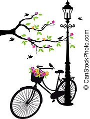 樹, 花, 燈, 自行車
