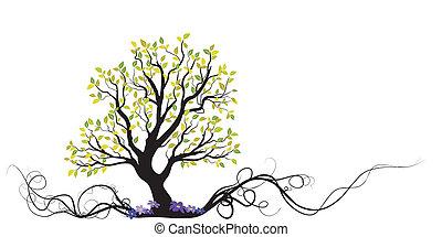 樹, 花, 矢量, 根