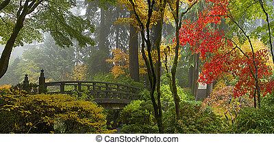 橋梁, 花園, 木制, 全景, 日語, 秋天