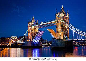 橋樑塔, 倫敦, 英國, 夜晚