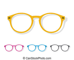 橙, 圖像, 矢量, 眼鏡