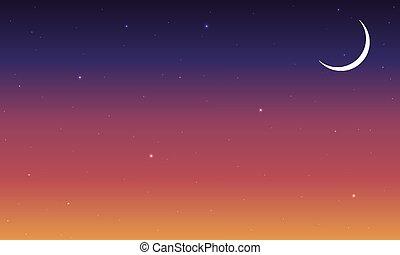 橙, 摘要, 天空, 不滿星星的, 夜晚, 藍色