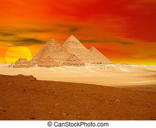 橙, 金字塔, sunse