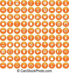 橙, 100, 集合, 超級市場, 圖象