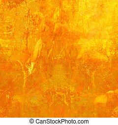橙, grunge, 背景, textured