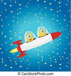 橙, vector., 宇宙飛船, 不同, 空間
