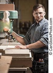 機器, 使用, 操練, woodworker