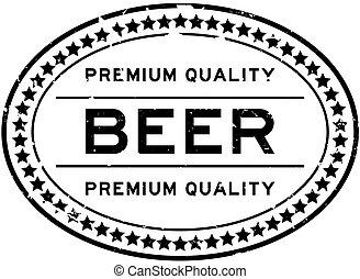 橡膠, 啤酒, 質量, 詞, 橢圓形, 白色, 郵票, 保險費, grunge, 封印, backgoround, 黑色