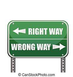 權利, /, 錯誤, 路, 方式, sign:
