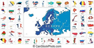 歐洲, 地圖, 旗, 國家