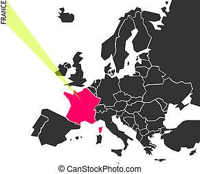 歐洲, 地圖, 法國, -, 政治